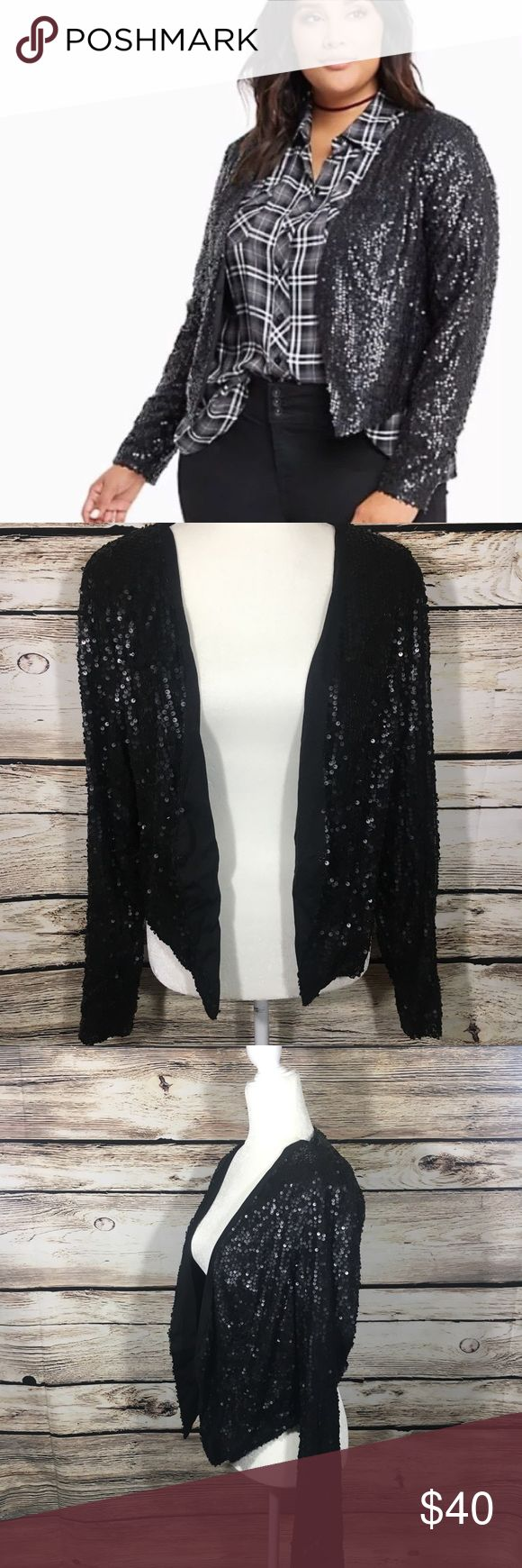 "Torrid sequin lined blazer coat black party wear 0 Torrid sequin blazer in black with sparkly sequins all over, one eye hook for closure. Size 0 which is a size large in Torrid sizing. Bust 44"", length 18"" in excellent condition with no signs of wear torrid Jackets & Coats Blazers"