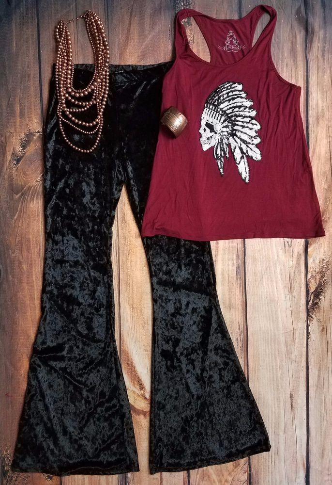 Cowgirl gypsy Crushes VELVET BELLS BLACK  Boho Pants Leggings SMALL #fashionomics #leggings