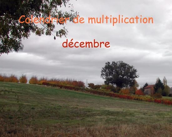 Calendrier de multiplication decembre