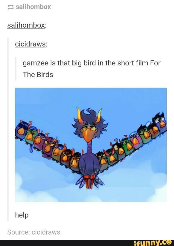 Gamzee is the big bird in For the Birds