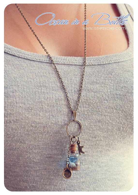 Ocean in a Bottle necklace Vial necklace with Shells mini by Vhea, €11.99