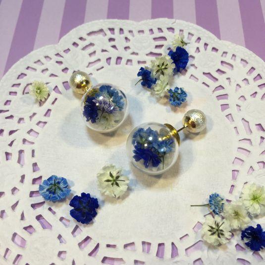 ブルー系ガラスドームピアス | ハンドメイド、手作り作品の通販 minne(ミンネ)