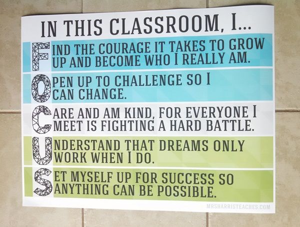 """In this classroom, I focus... (Class """"Rules"""" Poster)"""