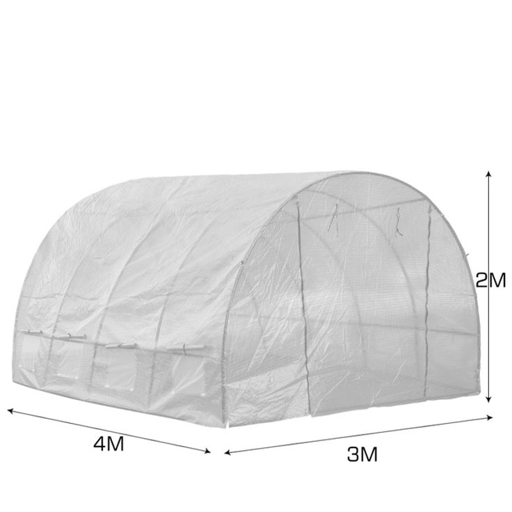 Walk In Garden Greenhouse w/ PE Cover in White 3x4m | Buy Walk-In Greenhouses
