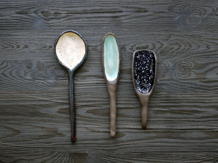 Ceramic spoons and scoops that can be used in the kitchen, nice giftidea for someone who loves handmade work. Different patterns and colours: black with white dots, mint and transparent with black dots. Made by Projectorium - design studio from Kraków, Poland.