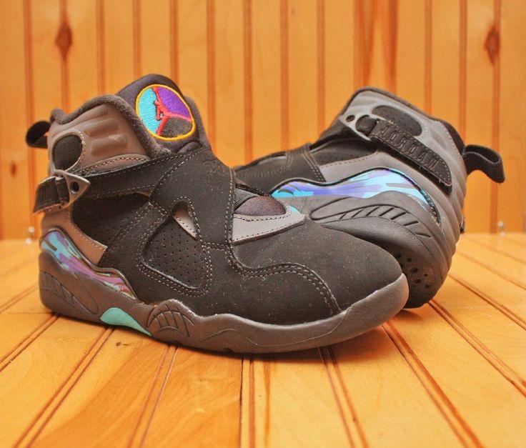 Nike Air Jordan VIII 8 Retro Size 2Y - Black Aqua Purple - 305369 025 #Nike #BasketballShoes