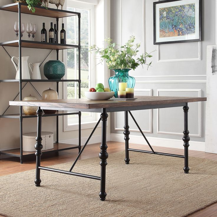 Modern Industrial Dining Table Sets: Nelson Industrial Modern Metal Dining Table By TRIBECCA