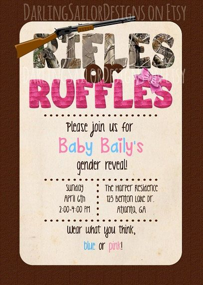 Camo Gender Reveal Party | Rifles or Ruffles Gender Reveal Party Invitation (Digital File) 5x7