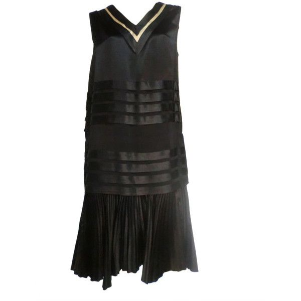 20s Satin Black and White Pleated Tea Dress ❤ liked on Polyvore featuring dresses, tea party dresses, drop waist dresses, tea-length dresses, black and white dress and low dress