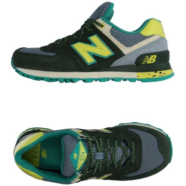 New Balance Sneakers ($148) ❤ liked on Polyvore featuring shoes, sneakers, green, flat sneakers, green sneakers, animal trainer, round toe sneakers and new balance