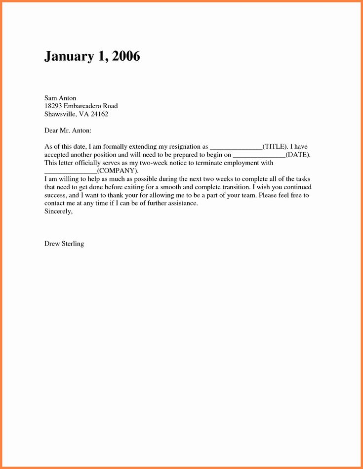 27++ Two weeks notice letter short and sweet example ideas
