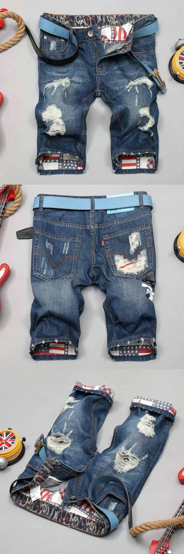 BIKER&Moto JEANS Men's Short Trousers Male Staight Jean Pants Big Boy Blue denim overalls Printing Knee Length men Jeans Ripped