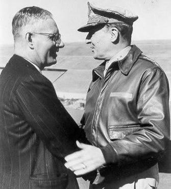 Australian Prime Minister John Curtin meets US General Douglas McArthur.