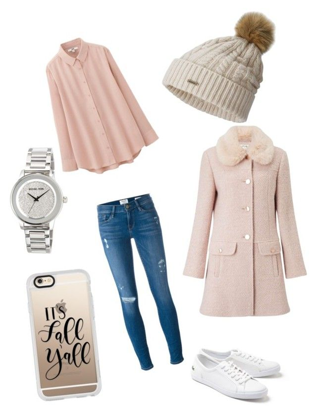 """""""Cute Fall College outfit"""" by kiyomiminiko on Polyvore featuring Frame Denim, Uniqlo, Lacoste, SOREL, MICHAEL Michael Kors, Miss Selfridge and Casetify"""