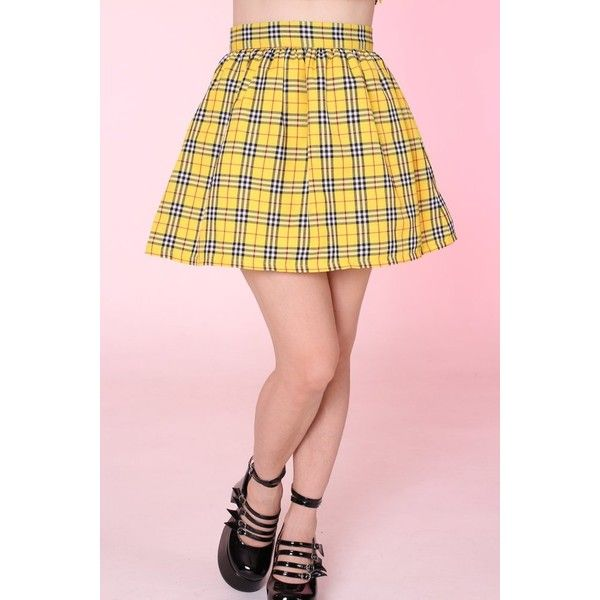 MADE TO ORDER Yellow Tartan Clueless Skirt ❤ liked on Polyvore featuring skirts, pink tartan skirt, yellow skirts, plaid skirts, yellow plaid skirt and yellow knee length skirt