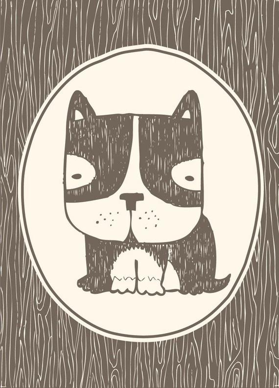faux bois frenchie. French Bulldog Illustration.
