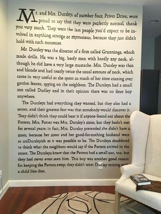 Gorgeous wall decorating idea for readers: paint a page of your favorite book beside your reading nook.