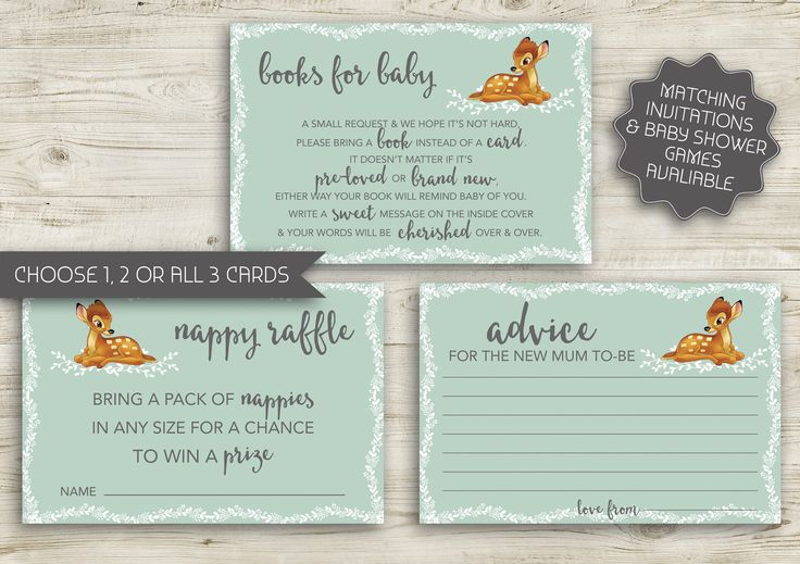 Bambi Books for Baby | Printable Invitation | Advice for Mum-to-be | Nappy Raffle | Diaper Raffle | Vintage Baby Shower | Bambi (088) by kellylouisedesigns on Etsy