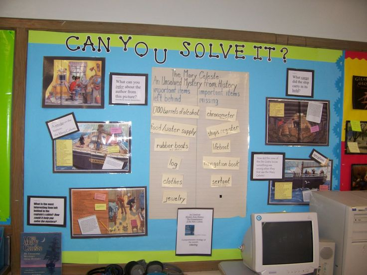 Unsolved mystery of history bulletin board. #Socialstudies #history. This is a cool idea to get students interested in history. There are a lot of mysteries to explore! They used CTP's Black Dot-to-Dot letters.
