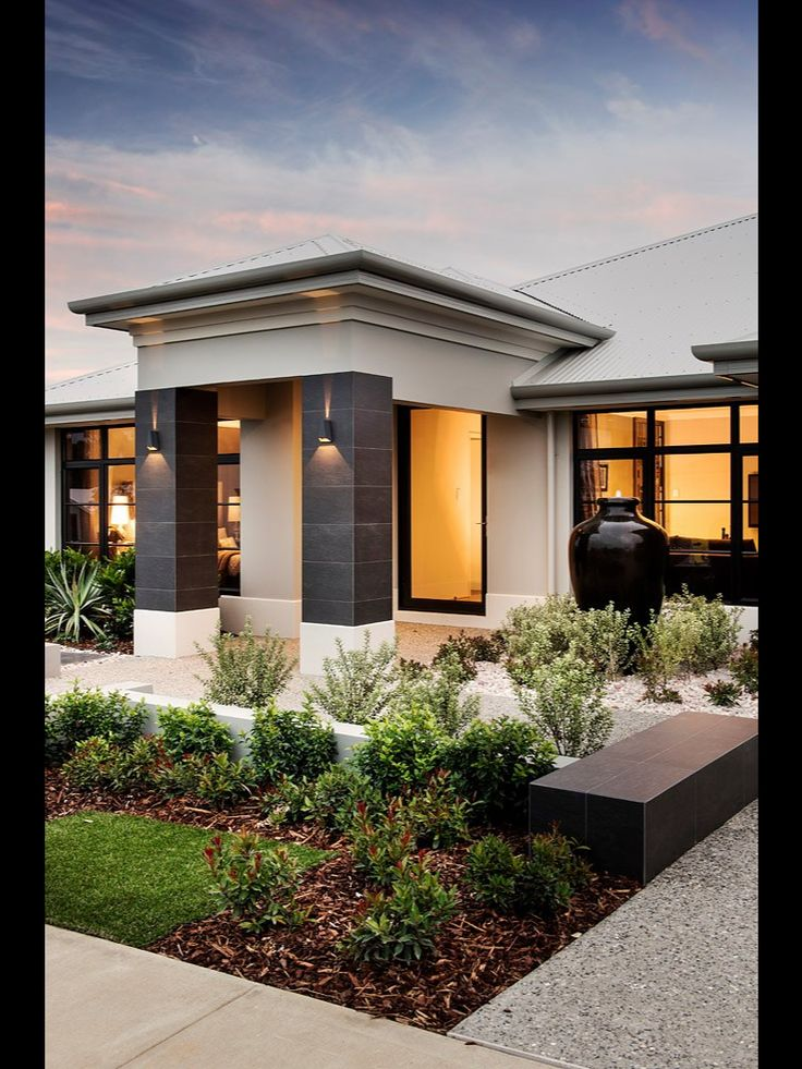 Love dale alcocks homes front elevations single story for Modern house facade home design