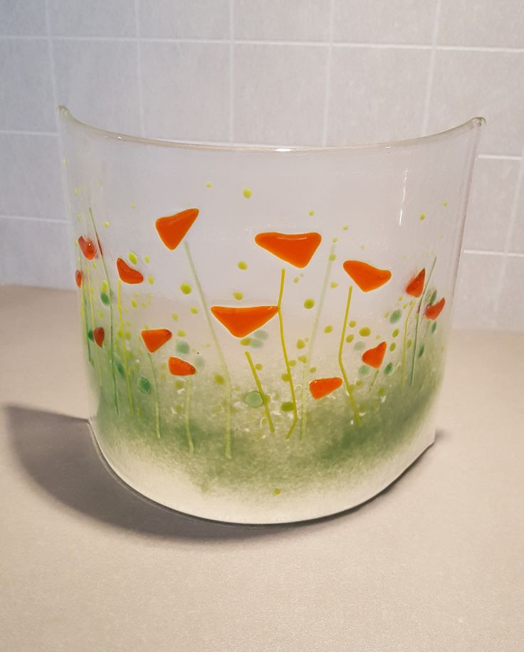 Fused glass. Curved. Orange flowers