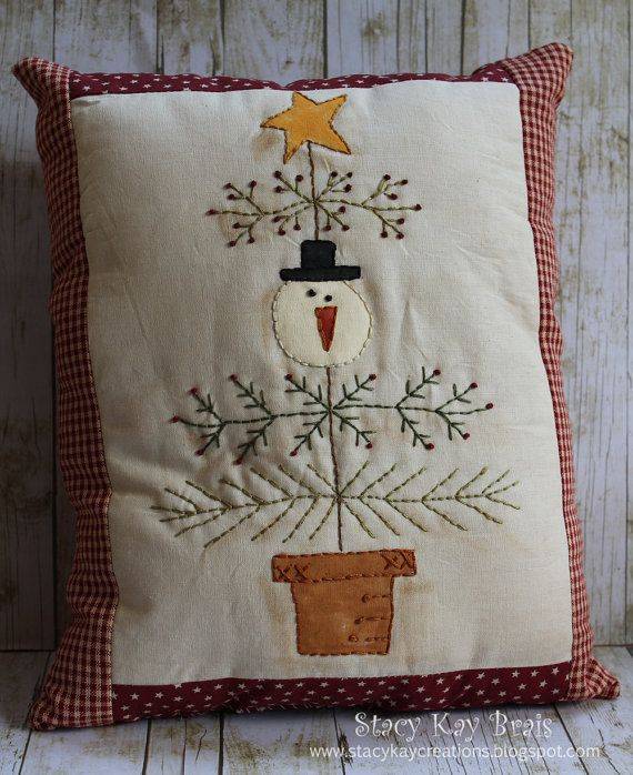 *Stacy Kay Creations* Handstitched and Handpainted Snowman Christmas Pillow. The s&ler is stitched on tea stained muslin and backed with & 25+ unique Handmade pillows ideas on Pinterest | Handmade cushions ... pillowsntoast.com