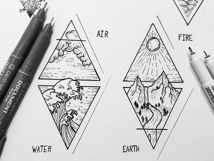 air, earth, water, fire @katekallinn