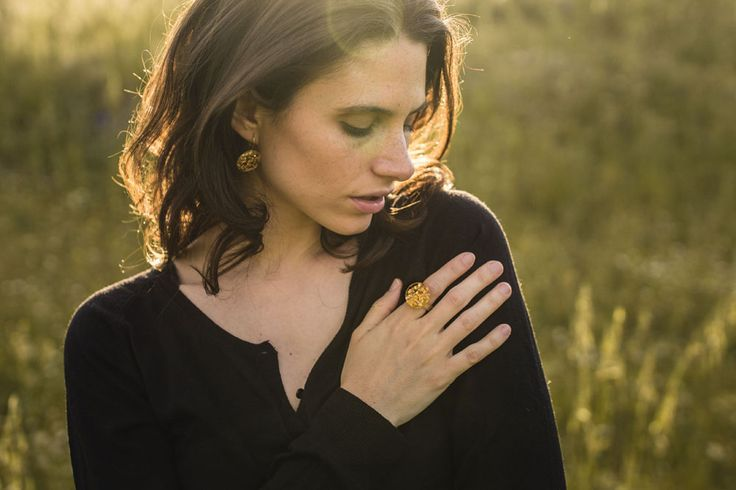Earring and ring handmade with gold leaf