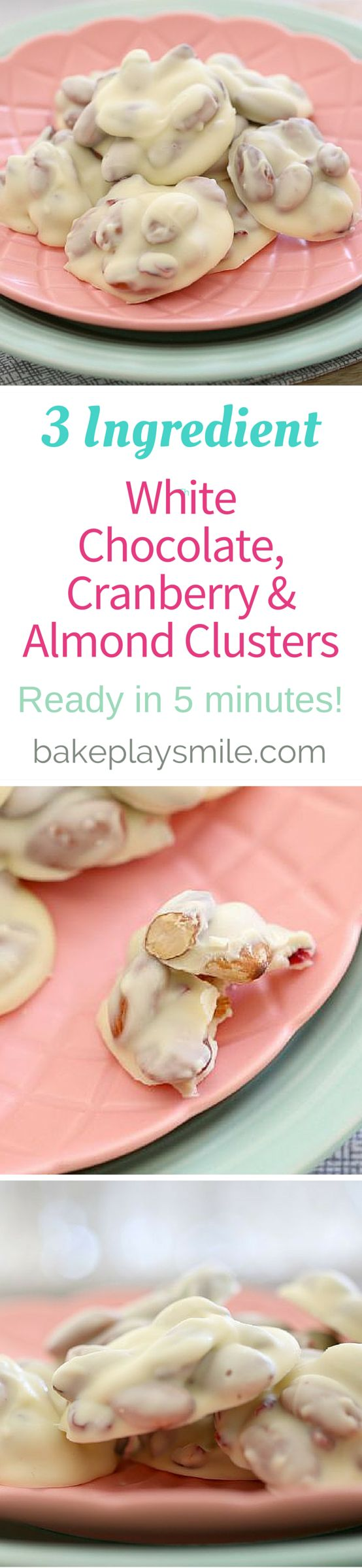 5 minutes and 3 ingredients is all it takes to make these super yummy clusters! You can use any type of chocolate you like - and why not mix and match with the fruit and nuts if you prefer!   Bake Play Smile #almond #cranberry #chocolate #clusters #nobake #easy #recipe #3ingredient #conventional #thermomix