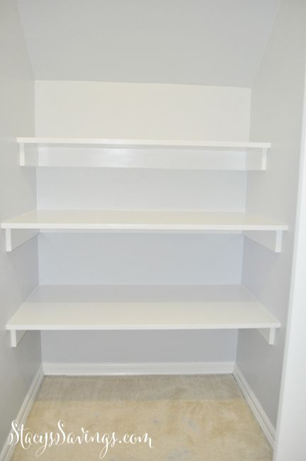 How to build built in shelving in closet under the stairs.  Great use of space! Easy DIY storage!