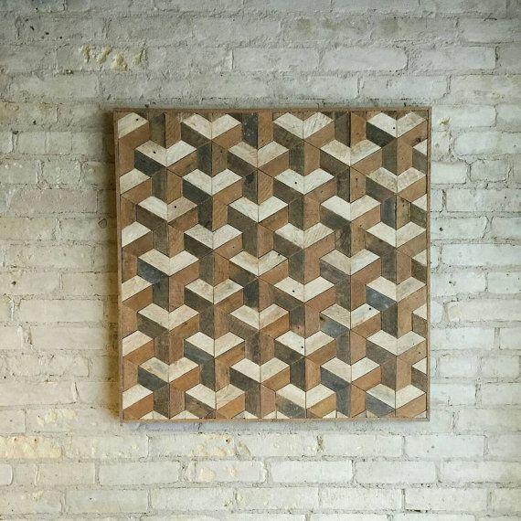 Reclaimed Wood Wall Art Tessellation 30 x 30 Lath Pattern