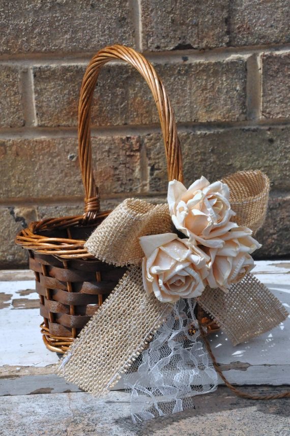 burlap and lace basket - for holding utensils or other things?