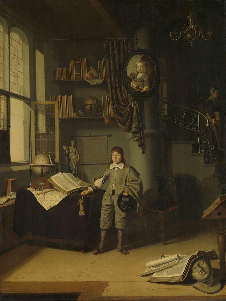 Adriaen van Gaesbeeck | Young Man in a Study, Adriaen van Gaesbeeck, 1640 - 1650 | Jongen staande voor een werktafel in een interieur van een studeerkamer. Op de tafel een opengeslagen boek, landkaart, luit, inktstel, globe en een standbeeld van Venus. Tegen de muur planken met boeken en een landkaart op rollen. Op de voorgrond liggen op de vloer een boek, een kaart en een gipsen kop. Rechts een trap naar de bovenverdieping, op de trap loopt een meid met een boek onder de arm. In het midden…