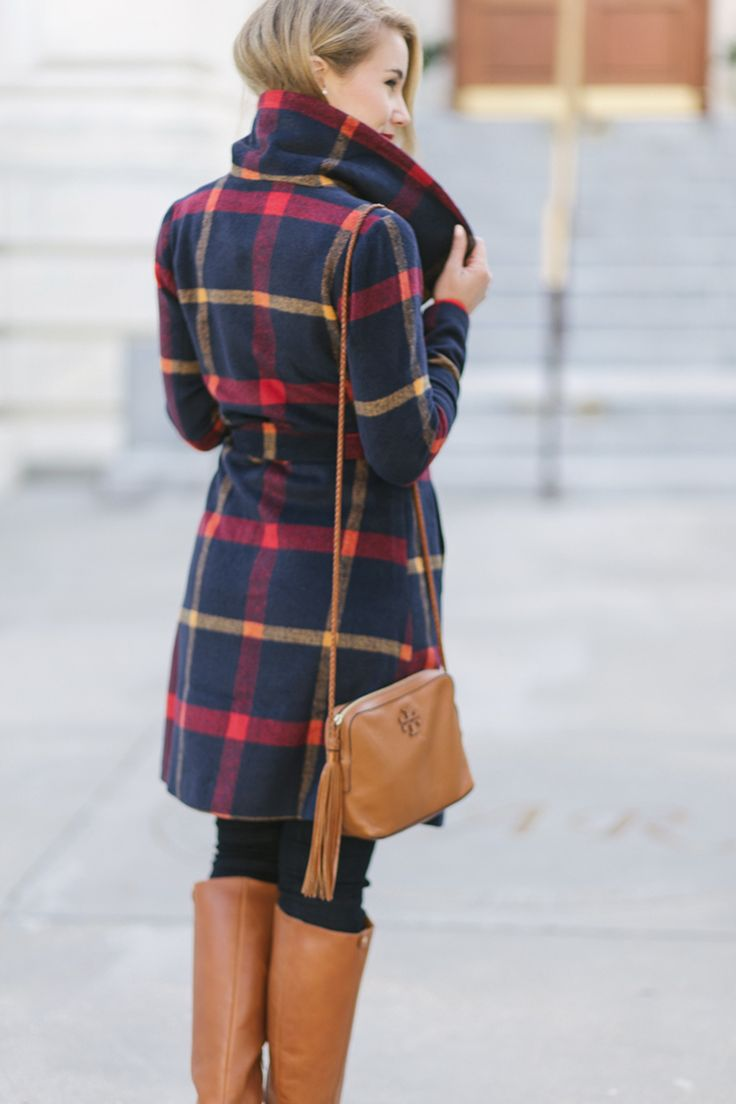 wandering d.c. in the perfect wrap coat | plaid wrap coat | scalloped button down | skinny jeans | riding boots | how to style a wrap coat | how to wear a wrap coat | winter coats fall fashion | fall style | fashion for fall | style ideas for fall | cool weather fashion | fashion tips for fall || a lonestar state of southern #fallstyle #wrapcoat #wintercoats