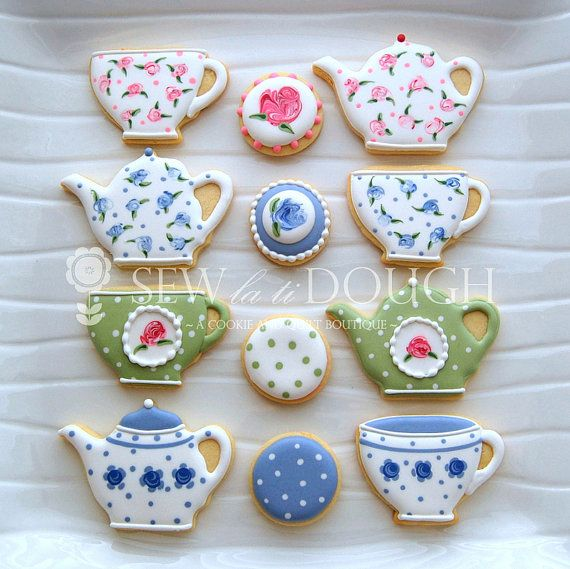 1 Dozen Tea Party Cookies Minis sold by SewLaTiDoughBoutique, $36.00