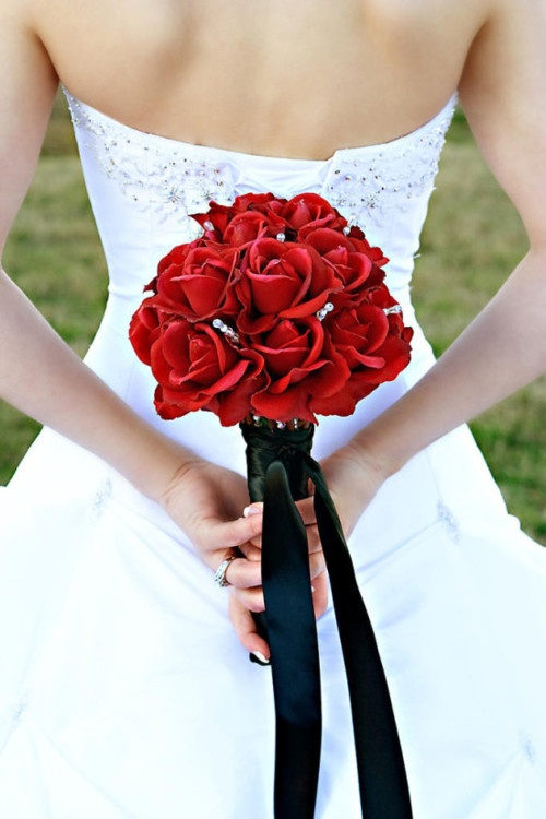 Bridal Bouquet: Gorgeous red rose bridal bouquet. Can't go wrong with red roses