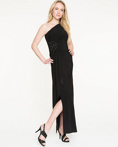Embellished Knit One Shoulder Gown
