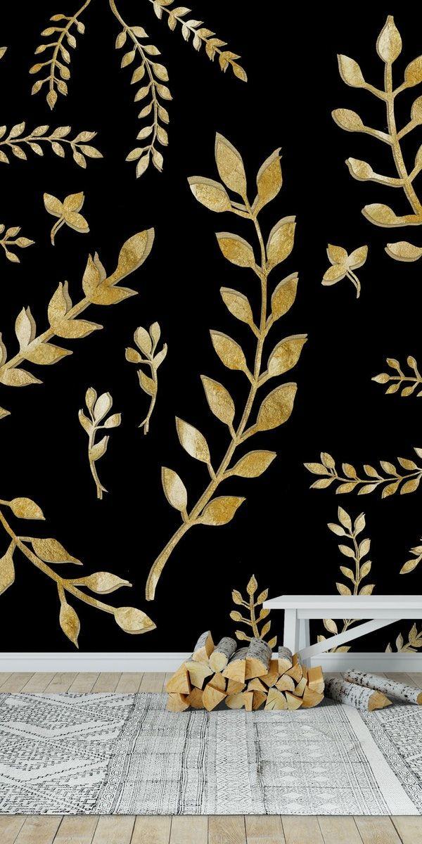 Gold Leaves Pattern 1 Wall mural Wall murals, Pattern