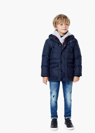 Puchowa kurtka z kapturem | MANGO KIDS