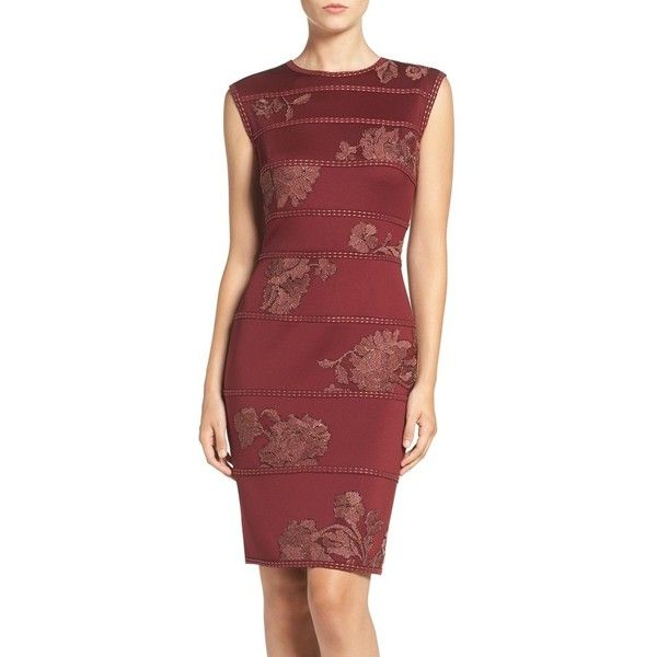 Petite Women's Tadashi Shoji Embroidered Neoprene Sheath Dress ($140) ❤ liked on Polyvore featuring dresses, petite, petite red dress, petite cocktail dress, embroidered dress, tadashi shoji dresses and floral cocktail dresses