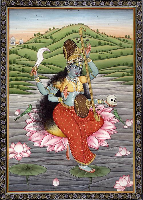 Matangi Mahavidya, the tantric form of Saraswati and the goddess who rules intelligence and eloquence of speech. In thePurashcharyarnava Tantra it is described how the siddhi (attainment of a certein power) Matangi Devi gives is that whenever posed with a question Matangi Devi will whisper the answer in to her devotees ear.