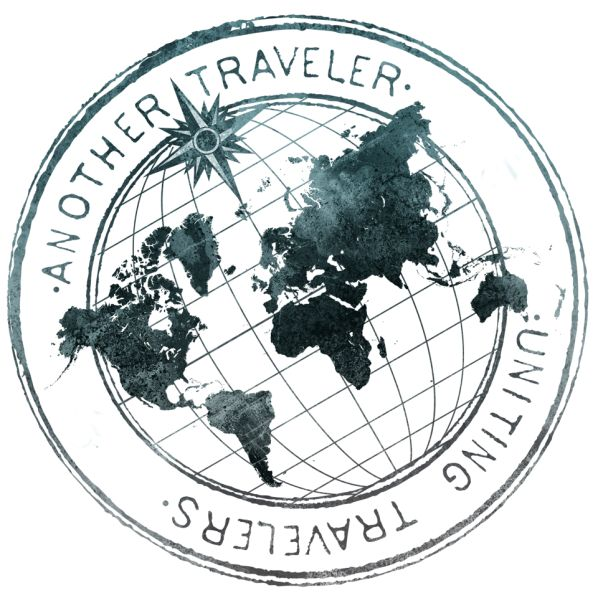 Another Traveler logo *i like how the map is flat on top of the globe