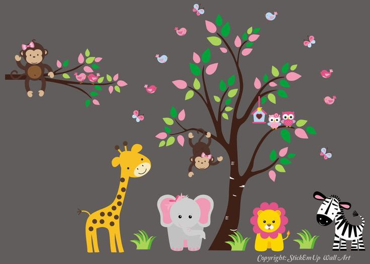 Best Girls Themed Nursery Animal Wall Decals Images On - Zoo animal wall decals