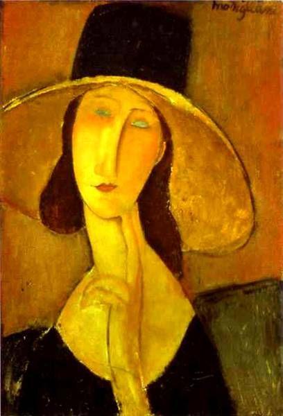 Jeanne Hebuterne in a Large Hat by Amedeo Clemente Modigliani