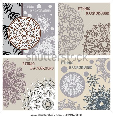 Vector set of geometric delicate card templates for business and invitation. Ethnic, tribal, oriental motifs. Modern ethno pattern. Boho style.