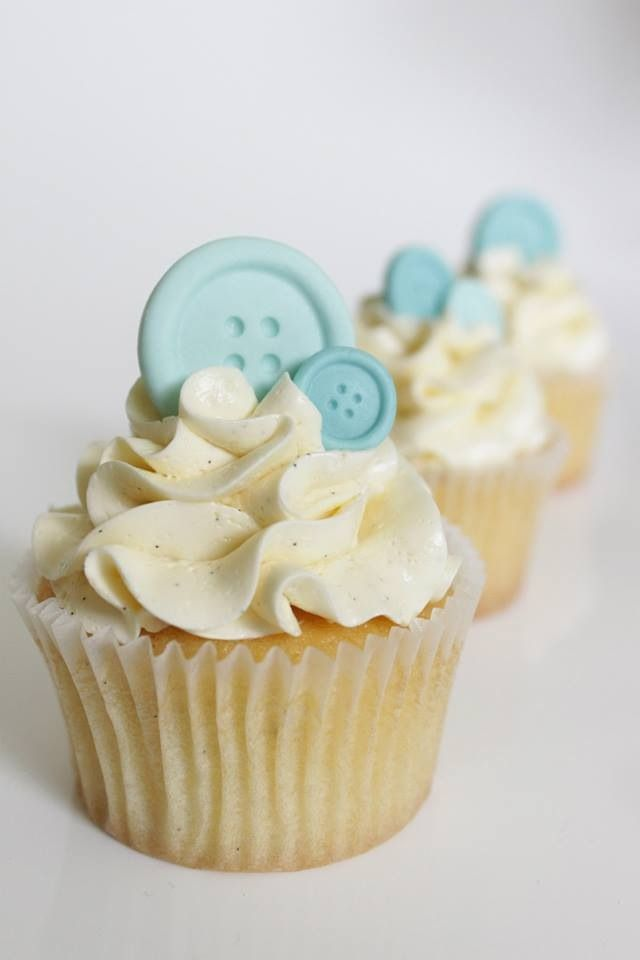 Button Cupcakes  Made for a Baby Shower these delicious vanilla bean cupcakes with swiss meringue buttercream are finished off with cute fondant buttons.  Made by Yum ME Cakes, Sydney. https://www.facebook.com/yummecakesbymareandemma (Chocolate Buttercream For Fondant)
