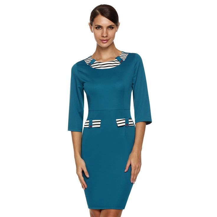 Green Stylish Women Elegant Retro Slim Bodycon Wear to Party Cocktail Pencil Work Dresses