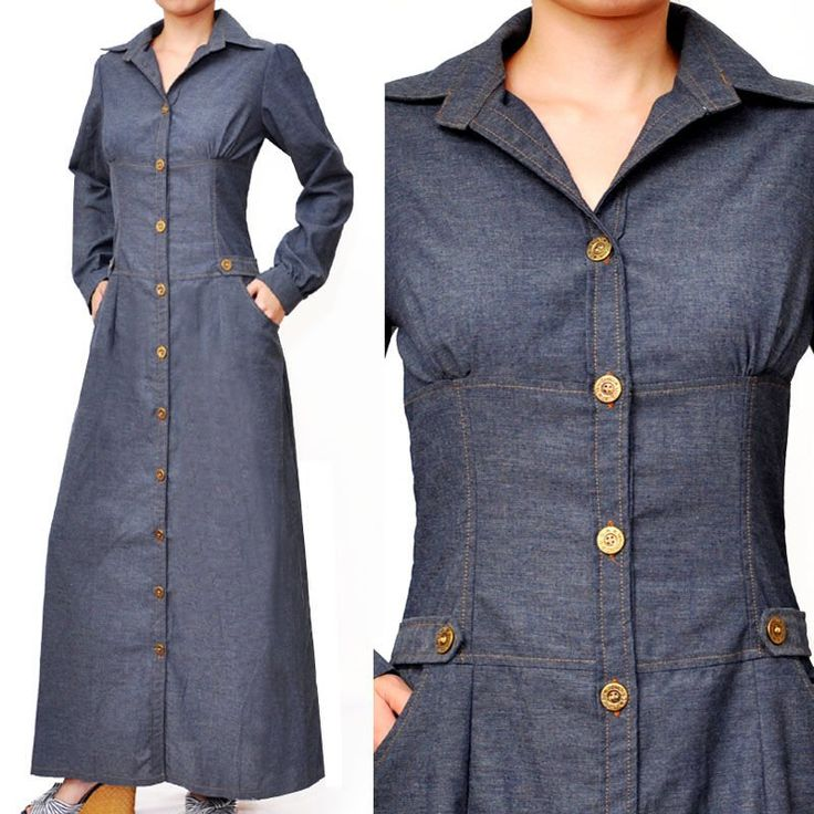 Muslim Shirt Dress Long Sleeve Abaya Cotton Denim - Buy Fashion Trendy Muslim Shirt Dress Long Sleeve Abaya Gamis Baju Busana Product on Ali...