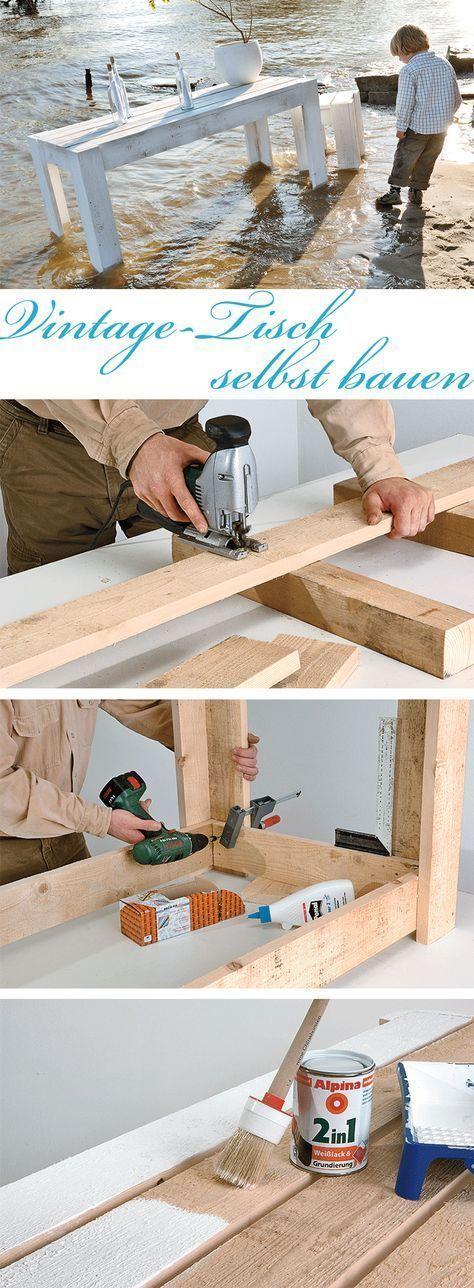 So schnell baust du eine robusten Gartentisch mit maritimen Look: Verwende kesseldruckimprägniertes Holz, dann trotzt dein Tisch länger der Witterung.