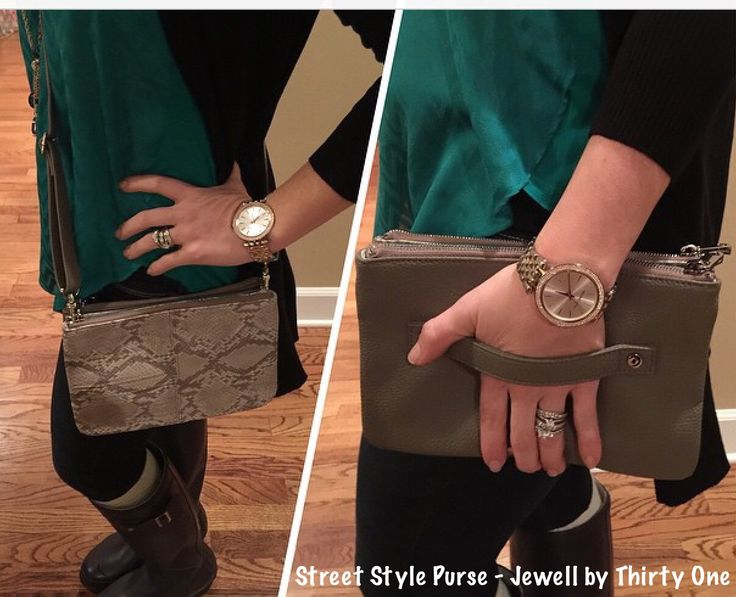 STREET STYLE PURSE- can be worn with the strap or as a clutch by using the handle on the reverse side